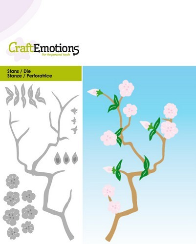 CraftEmotions - Die - Springtime Collection - Branch with blossom