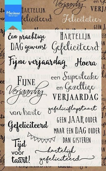 Marianne Design - Clearstamp - Felicitaties - CS0987