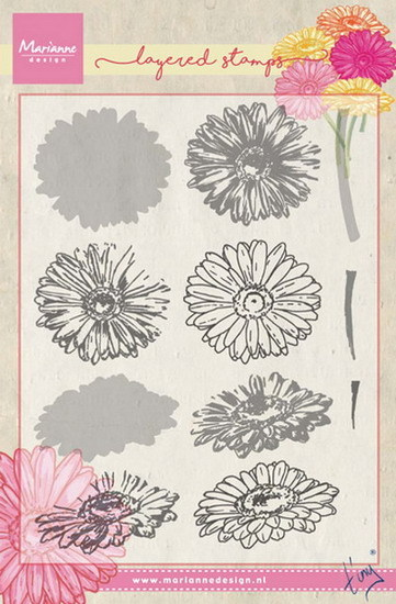 Marianne Design - Tiny`s - Clearstamp - Tiny`s gerbera (layering) - TC0853