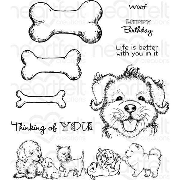 Heartfelt Creations - Cling Stamp - Paw-fect Pooches - HCPC3760