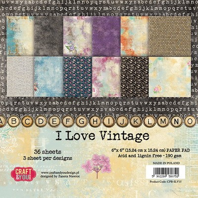 Craft & You Design - Paperpack - I Love Vintage - CPB-ILV15