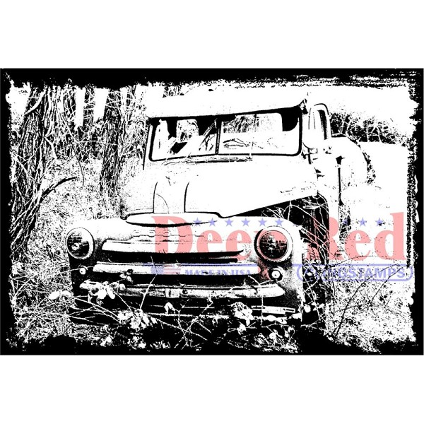 Deep Red - Cling Stamp - Abandoned Truck - 3X505617