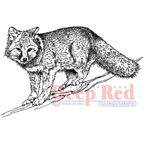 Deep Red - Cling Stamp - Winter Fox - 3X505582
