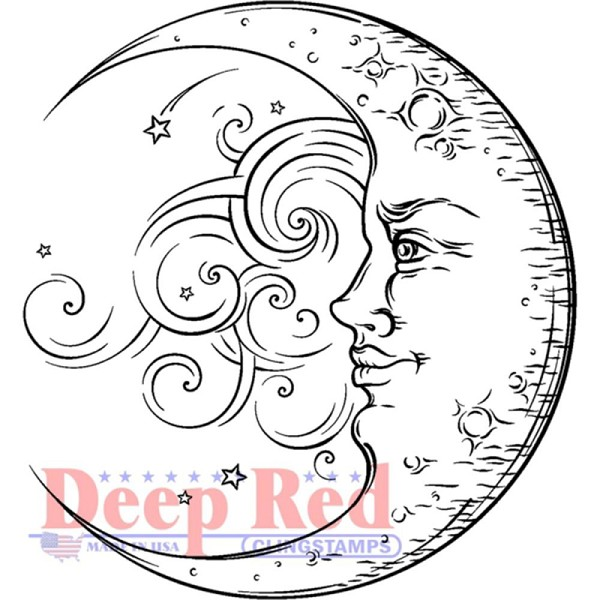 Deep Red - Cling Stamp - Crescent Moon - 3X405611