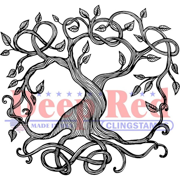 Deep Red - Cling Stamp - Tree of Life - 3X405612