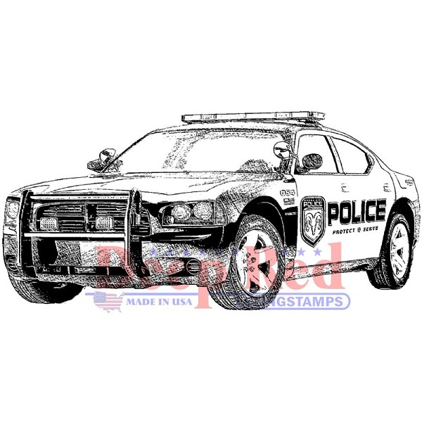 Deep Red - Cling Stamp - Police Car - 3X405604