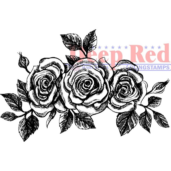 Deep Red - Cling Stamp - Rose Border - 3X505616
