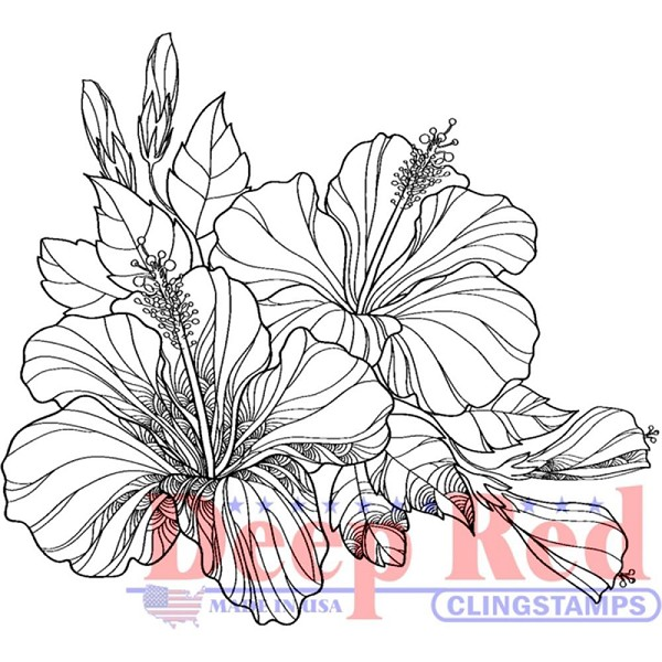 Deep Red - Cling Stamp - Hibiscus - 3X405608