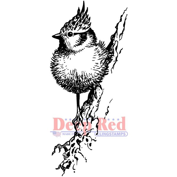 Deep Red - Cling Stamp - Tufted Titmouse - 3X405601