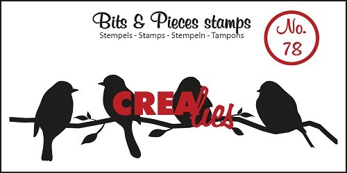 Crealies - Clearstamp - Bits & Pieces - No. 78 - Birds on a branch - CLBP78