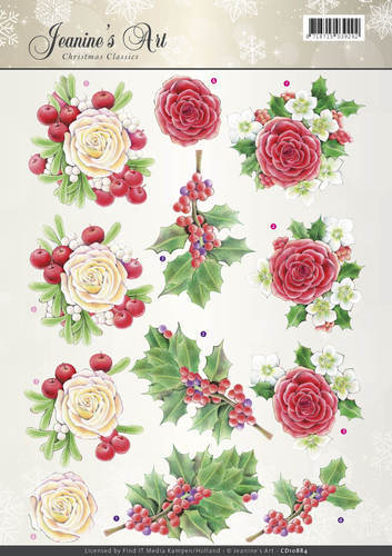 Jeanine`s Art - 3D-knipvel A4 - Christmas Classics - Rose - CD10884