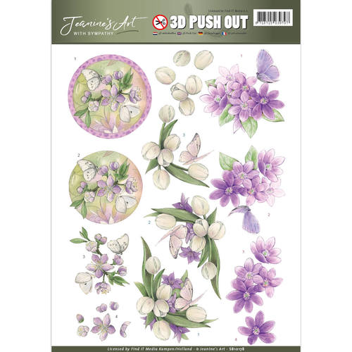 Jeanine`s Art - (3D-)Stansvel A4 - With Sympathy - Violet flowers - SB10178