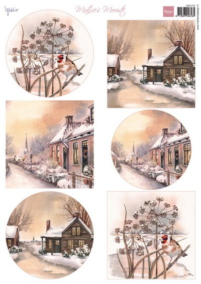 Marianne Design - Mattie - 3D-knipvel A4 - Mattie`s Mooiste - Winter villages - MB0169