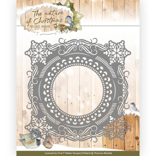Card Deco - Precious Marieke - Die - The nature of Christmas - Christmas Snowflake Frame - PM10097