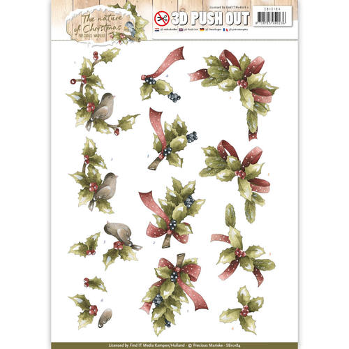 Precious Marieke - (3D-)Stansvel A4 - The Nature of Christmas - Christmas Holly - SB10184