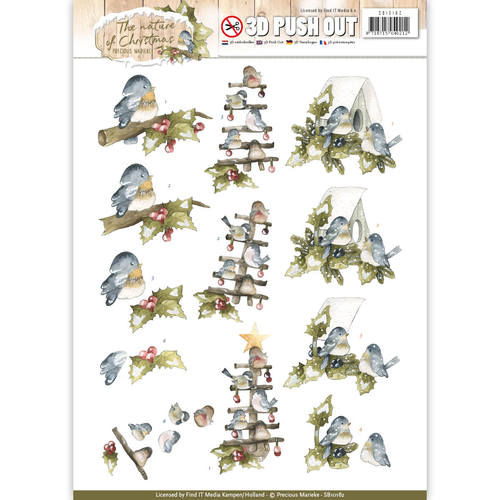 Precious Marieke - (3D-)Stansvel A4 - The Nature of Christmas - Christmas Birds - SB10182