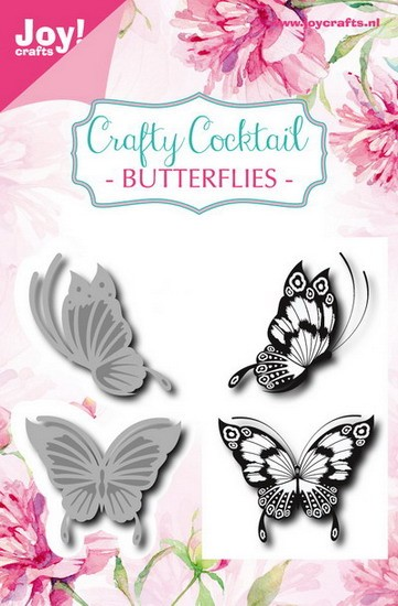 Joy! crafts - Clearstamp met mal - Crafty Cocktail - Butterflies
