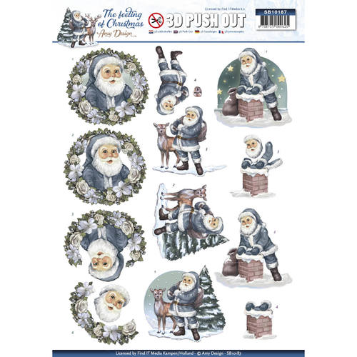 Amy Design - (3D-)stansvel A4 - The feeling of christmas - Santa claus - SB10187
