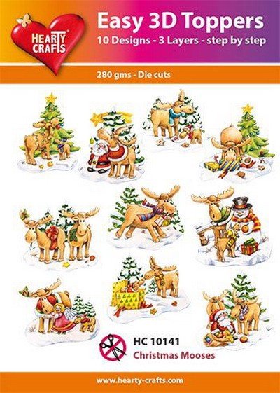 Hearty Crafts - Easy 3D Toppers - Christmas Mooses - HC10141