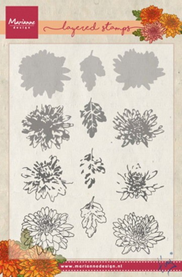 Marianne Design - Tiny`s - Clearstamp - Tiny`s chrysant (layering) - TC0858