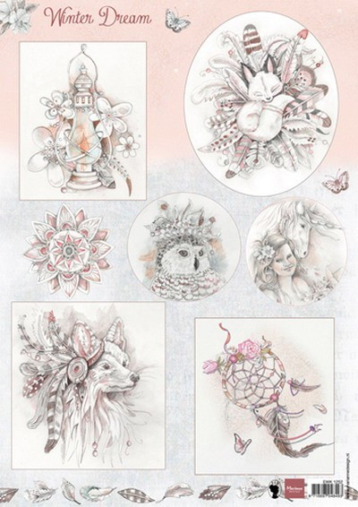Marianne Design - Els Wezenbeek - 3D-knipvel A4 - Winter dream pink - EWK1252