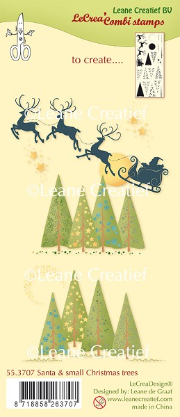 Leane Creatief - Clearstamp - Santa & small Christmas trees - 55.3707
