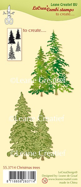 Leane Creatief - Clearstamp - Christmas trees - 55.3714