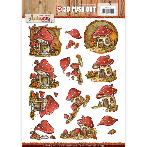 Yvonne Creations - (3D-)Stansvel A4 - Autumn Colors - Mushrooms Houses - SB10193