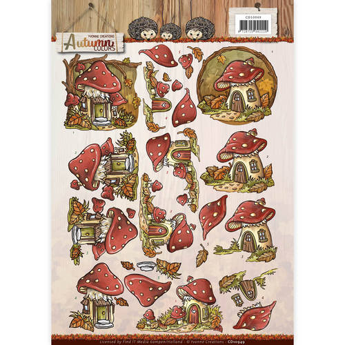 Yvonne Creations - 3D-knipvel A4 - Autumn Colors - Mushrooms Houses - CD10949