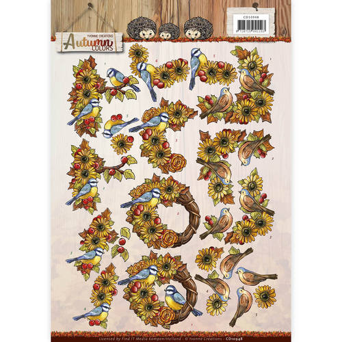 Card Deco - Yvonne Creations - 3D-knipvel A4 - Autumn Colors - Autumn Birds