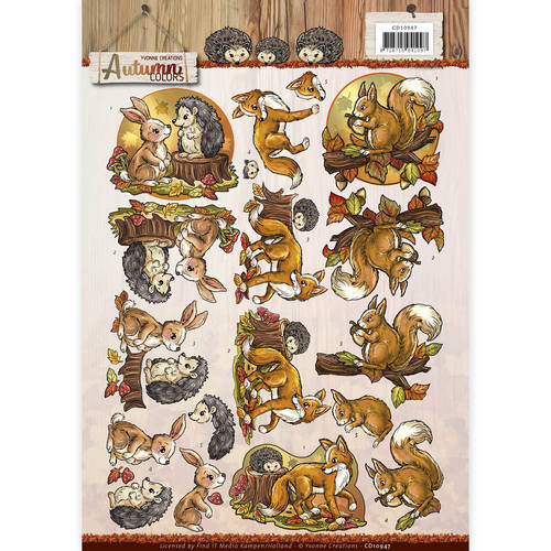 Yvonne Creations - 3D-knipvel A4 - Autumn Colors - Autumn Animals - CD10947