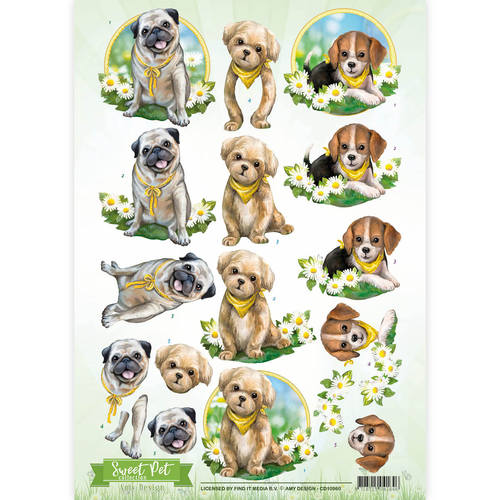 Card Deco - Amy Design - 3D-knipvel A4 - Sweet Pet Collection - Dogs - CD10960