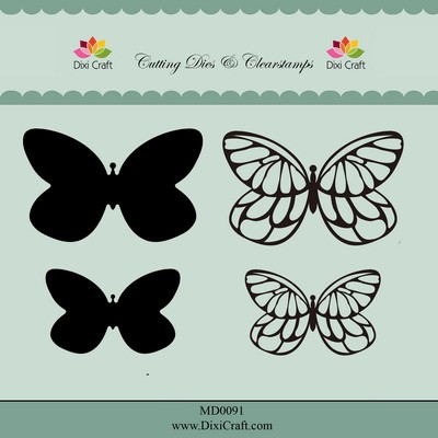Dixi Craft - Die met clearstamp - Butterflies - MD0091