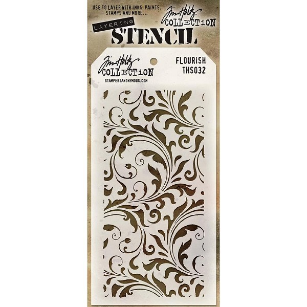 Stampers Anonymous - Tim Holtz - Layering stencil - Flourish - THS032