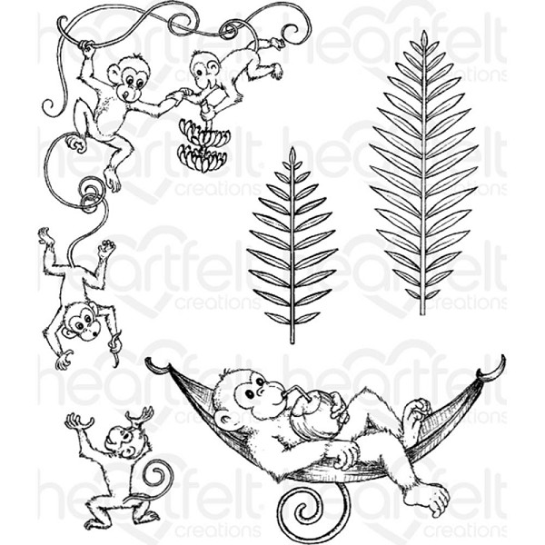 Heartfelt Creations - Cling Stamp - Monkeying Around - HCPC3778