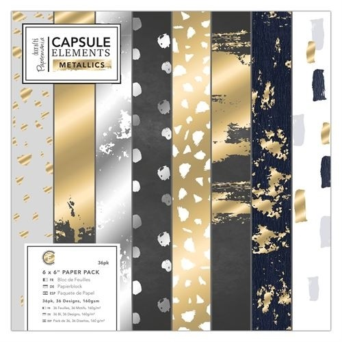 Papermania - Paperpack - Capsule Collection - Elements - Metallics - PMA 160256