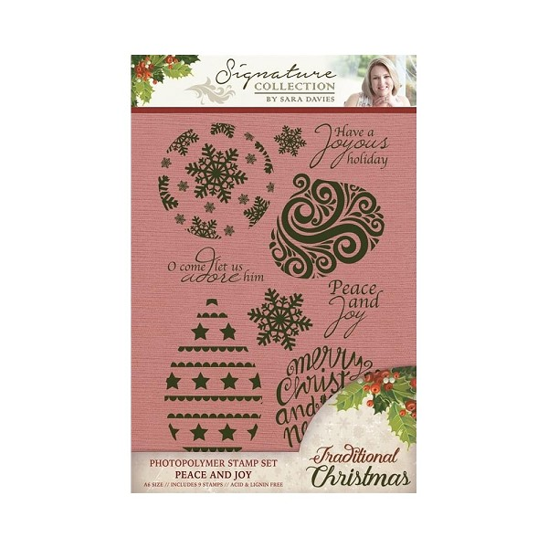 Crafter`s Companion - Sara Davies - Clearstamp - Traditional Christmas - Peace and Joy - S-TX-ST-JOY