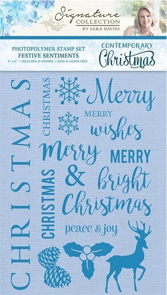Crafter`s Companion - Sara Davies - Clearstamp - Contemporary Christmas - Festive Sentiments