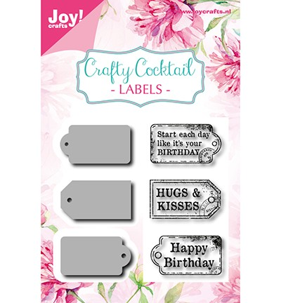 Joy! crafts - Noor! Design - Clearstamp met mal - Crafty Cocktail - Labels - 6004/0013