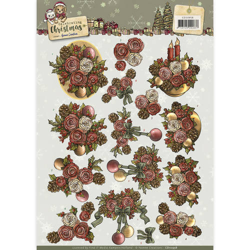 Yvonne Creations - 3D-knipvel A4 - Celebrating Christmas - Flowers - CD10958