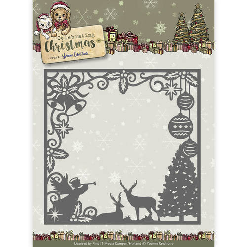 Yvonne Creations - Die - Celebrating Christmas - Scene Square Frame - YCD10115