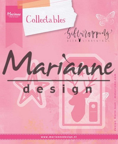 Marianne Design - Die - Collectables - Giftwrapping - Karin`s deer, star & tag - COL1442