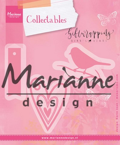 Marianne Design - Die - Collectables - Giftwrapping - Karin`s bird, hearts & tag - COL1443