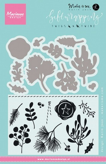 Marianne Design - Karin Joan - Clearstamp - Giftwrapping - twigs & twine - KJ1715