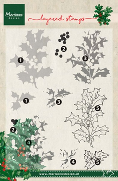 Marianne Design - Tiny`s - Clearstamp - Tiny`s holly (layering) - TC0862