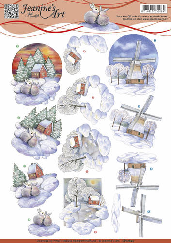 Jeanine`s Art - 3D-knipvel A4 - Winter landscape - CD10840