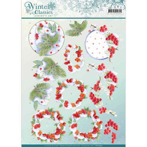 Jeanine`s Art - 3D-knipvel A4 - Winter Classics - Winterberries - CD10970