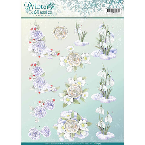 Jeanine`s Art - 3D-knipvel A4 - Winter Classics - Snow flowers - CD10969