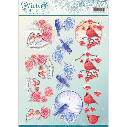 Jeanine`s Art - 3D-knipvel A4 - Winter Classics - Christmas Birds - CD10968