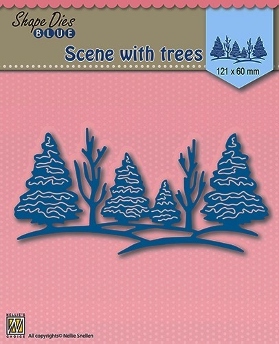 Nellie Snellen - Shape Die - Blue - Scene with trees - SDB003